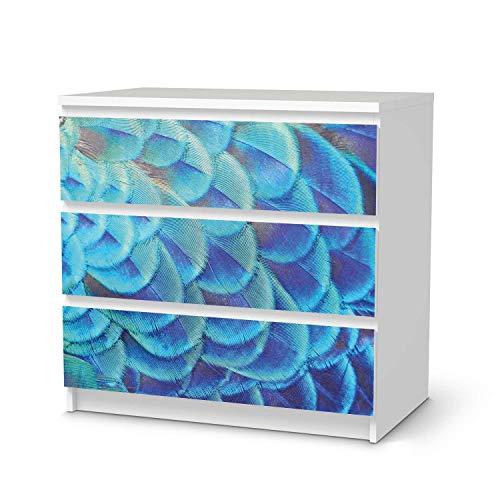 creatisto Möbel-Tattoo passend für IKEA Malm Kommode 3 Schubladen I Möbelsticker - Möbel-Sticker Aufkleber Folie I Innendekoration für Esszimmer, Wohnzimmer - Design: Federvieh