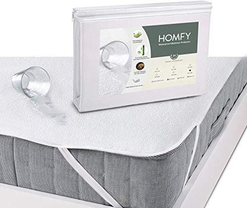 Homfy Waterproof Mattress Protector, Breathable Mattress Protector, Flap Cap 30 cm, Fitted Sheet, Anti-Dust and Hypo-Allergic, Eco Bamboo Fibre 180x190 /200cm