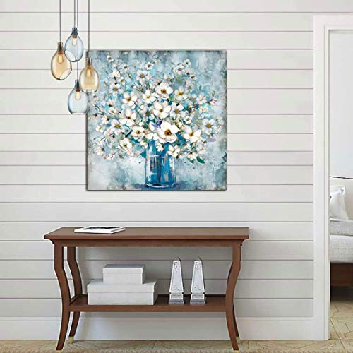 Bathroom Decor Canvas Wall Art Framed Wall Decoration Modern Gallery Wall Decor Print White Flower in Blue Bottle Theme Picture Artwork for Walls Ready to Hang for Kitchen Bedroom Decor Size 14x14