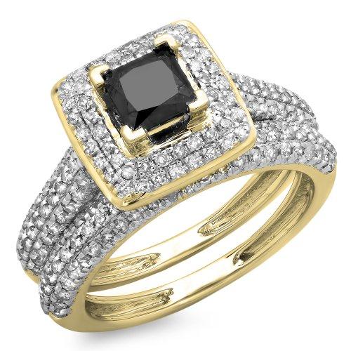 Bague Femme / Alliance 1.40 ct 18 ct 750/1000 Or Jaune Noir Diamants