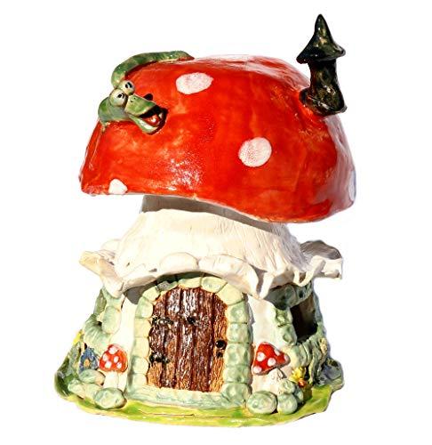 Keramunzel Pilzlichthäuschen groß mit Schornstein - Keramik zum Schmunzeln frech und wunderschön Manufaktur bien-Art