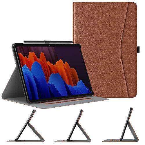 TiMOVO Hülle Kompatibel mit All-New Samsung Galaxy Tab S7 Plus 12.4 Inch Tablet (SM-T970/T975/T976), Notebook Stil PU Leder Schutzhülle Magnetverschluss Multi-Winkel Ständer, Braun