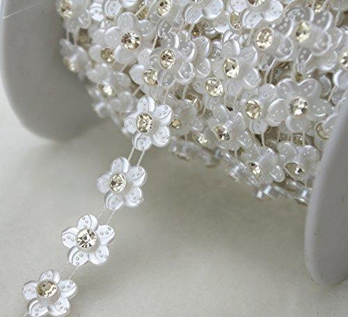 AEAOA 10 Yards 1/2 White Pearl Flower Rhinestone Chain Trims Sewing Wedding Decoration Craft Beaded Trim (LZ110)