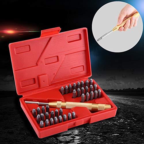 Set 38pcs Schlagzahlen 8mm Schlagbuchstabensatz Schlagzahlensatz mit Werkzeug zu Stanzer