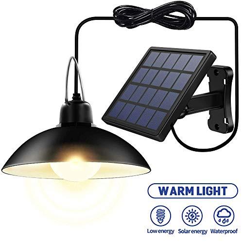 Luces Solares al Aire Libre con 16 LED Lámpara Colgante Solar Lámpara de Araña Retro Iluminación de Garaje IP65 Impermeable (Negro(blanco cálido))