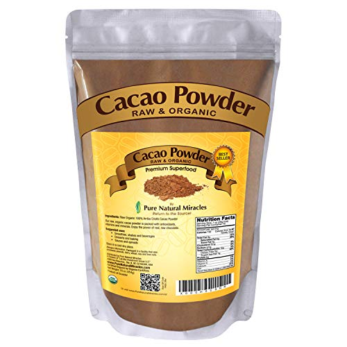 PURE NATURAL MIRACLES Cacao Powder Organic Raw, Unsweetened Cocoa, 1 lb