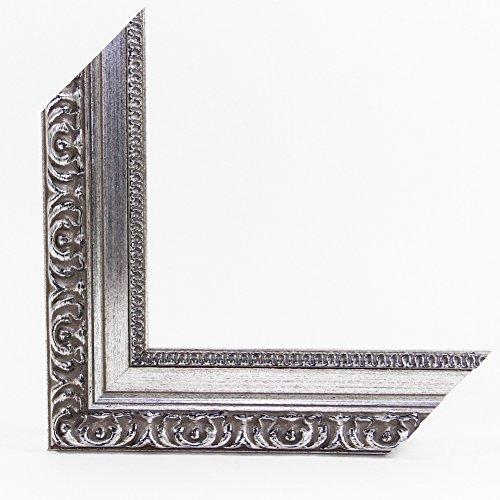 ZEUS 2 Barock Bilderrahmen 50x70 oder 70x50 cm in Altsilber/ANTIK Silber Optik mit AntiReflex Kunstglas und Rückwand, 45 mm breite echt Massivholz-Leiste in edel, luxuriöser ANTIK Optik