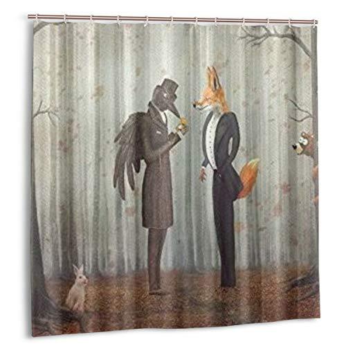 KOSALAER Duschvorhang,Wald-Raben-Fuchs-Märchen-Rabe & Fuchs in einem dunklen Wald, der die Uhr mit Kaninchen-Eulen-Bären-Herbstkunst betrachtet,Langhaltig Bad Vorhang Wasserdichtes,mit Haken