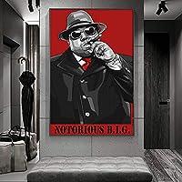 ノトーリアスB.I.G.ヒップホップミュージックキャンバスペインティングアートウォールデコレーションポスターとプリントポートレートデコレーションキャンバスプリント20x28inch(50x70cm)フレームレス