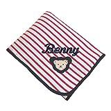 Steiff Babydecke mit Name bestickt rot weiß gestreift Jersey 90 cm x 60 cm personalisierte Namensdecke mit Teddybär-Motiv tango red