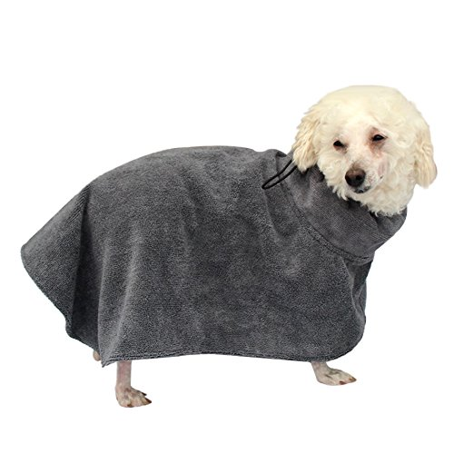 EarthSafe Microfiber Honden Badjas Hond Badhanddoek Ultra Zachte Vochtabsorberende Microvezel Doggy Dry Care droogt uw huisdier snel (L, Grijs)