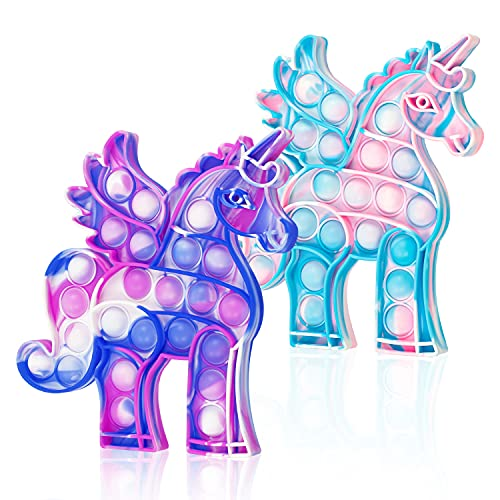 WHATOOK Pop Fidget Llama Toys es: 2 paquetes de Poppers Sensory Special Needs Alivio del estrés y Anti-Ansiedad Silicona Squeeze Bubble Alpaca Herramientas de juguete para niños y adultos