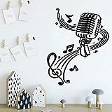 Lindo rollo de papel tapiz de vinilo con micrófono de música para habitación de niños, decoración de casa de estilo nórdico, pegatina de pared, Mural A8 XL 58x72cm