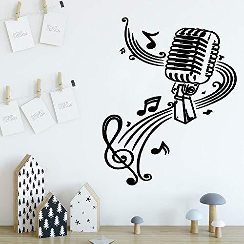 Lindo rollo de papel tapiz de vinilo con micrófono de música para habitación de niños, decoración de casa de estilo nórdico, pegatina de pared, Mural A1 XL 58x72cm