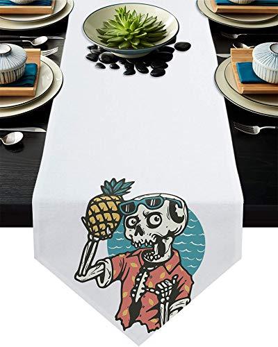 Camino de mesa de arpillera divertido con diseño de calavera con piña y gafas, 13 x 70 pulgadas