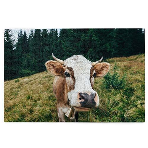 Rompecabezas de 1000 Piezas,Rompecabezas de imágenes,Vaca Divertida En Un Prado En El Bosque.Fondo Animal,Juguetes puzzle for Adultos niños Interesante Juego Juguete Decoración Para El Hogar