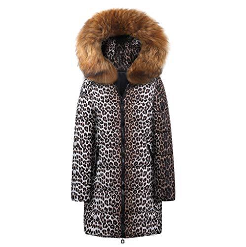 FIRMON-Coat Damen Mantel mit Kapuze und Leopardenmuster, lang, Kunstfellkragen, gefüttert, dick, Oberbekleidung Gr. Small, braun