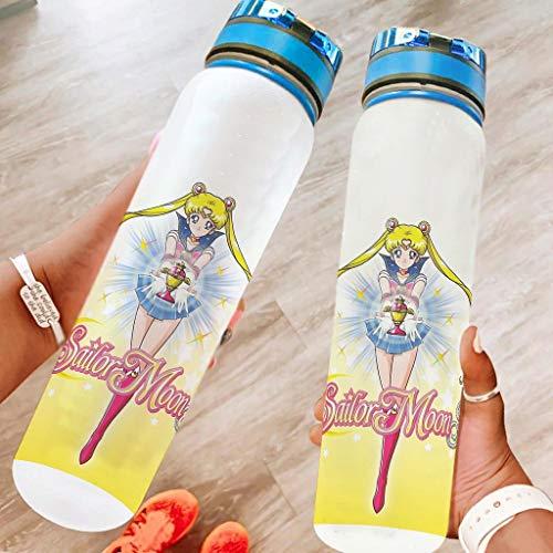 Generic Branded Sailor Moon S - Botella de agua deportiva para viajes, no tóxica, 1000 ml, color blanco