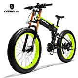 LANKELEISI 750PLUS 48V14.5AH 1000W EngineAll-Powerful Leistungsfähiges elektrisches Fahrrad 26 '' 4.0 Großhandelsreifen Ebike 27 Geschwindigkeits-Schnee MTB(grün)