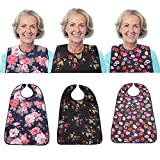 3 Pack Adult Bib for Eating Washable Reusable Waterproof Clothing Protector with Optional Crumb Catcher 30' x 19.5' Women