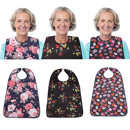 """3 Pack Adult Bib for Eating Washable Reusable Waterproof Clothing Protector with Optional Crumb Catcher 30"""" x 19.5"""" Women"""