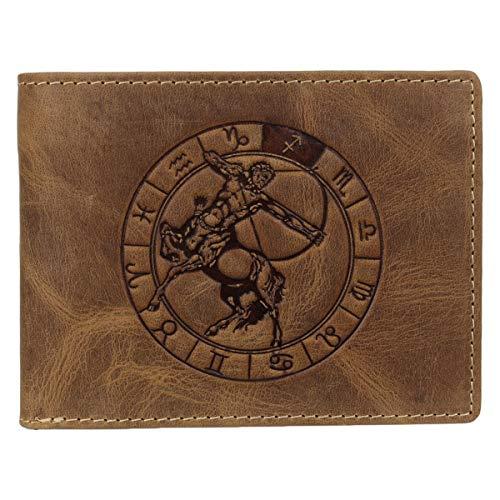Greenburry Vintage 1705-Schütze Leder Geldbeutel Geldbörse Portemonnaie mit Sternzeichenmotiv Schütze