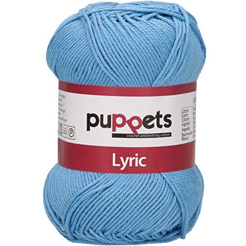 Puppets Lyric Stärke 4 4572004-05010 blau Häkelgarn, 100 % Baumwolle