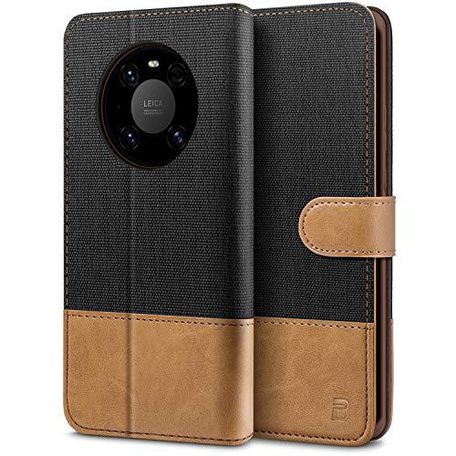 BEZ Handyhülle für Huawei Mate 40 Pro Hülle, Tasche Kompatibel für Huawei Mate 40 Pro, Schutzhüllen aus Klappetui mit Kreditkartenhaltern, Ständer, Magnetverschluss, Schwarz