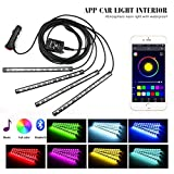 Car LED Strip Lights, ONEKA 4pcs 48 LED Bluetooth APP Control Atmosphere Interior Lights Multicolor Music Car...
