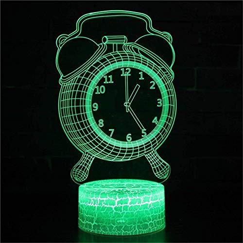 Reloj despertador 3D, lámpara de ilusión LED 3D, 16 colores que cambian con mando a distancia, regalo de cumpleaños y vacaciones para niños y niñas