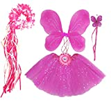 Enchantly Fairy Costume - Fairy Wings for Girls - Butterfly Costume for Girls - Hot Pinkalicious Wings, Tutu, Wand and Halo