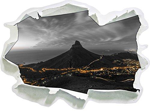 Stil.Zeit Kapstadts Löwenkopf Tafelberg BundW Detail Papier im 3D-Erscheinungsbild, Wand- oder Türaufkleber Format: 62x45cm, Wandsticker, Wandtattoo, Wanddekoration