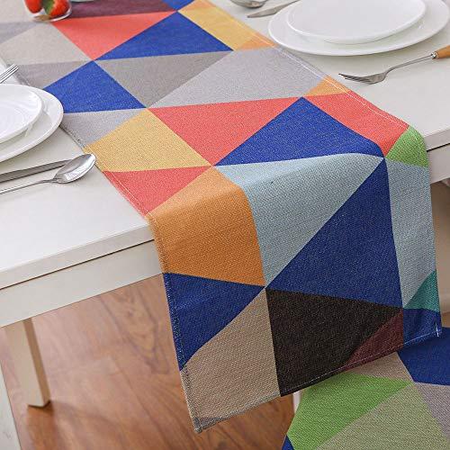 Goodvk Camino de Mesa Imprima el Camino de Mesa de algodón y Lino con Estampado de geometría Triangular for cenas Familiares Ambiente Cálido (Color : Multi-Colored, Size : 30x180cm)