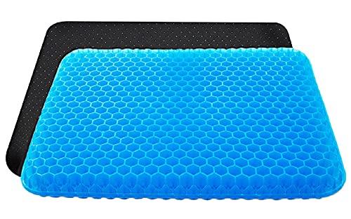 VAIYNWOM Cojines para Sillas de Gel Ortopédico, Estructura de Panal de Abeja, Transpirable, para el Hogar, Oficina, Coche, con Funda de Plástico Antideslizante, 42x37x3,5cm, Color Azul Oscuro