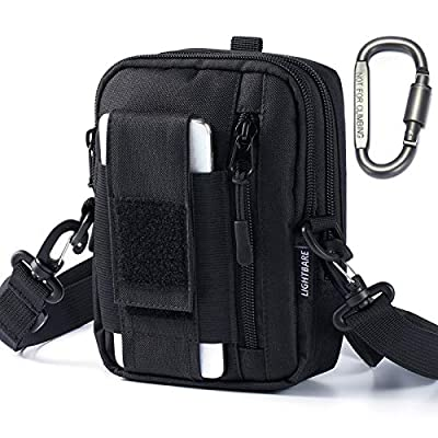 Bassdash Lightbare Series Tactical Molle Pouch Multipurpose EDC Crossbody Bag Waistpack, Compact Gadget Pouch with Cell Phone Holster Holder (New - Black 7.08? (H) x 5.12? (L) x 1.97? (W)) from Bassdash