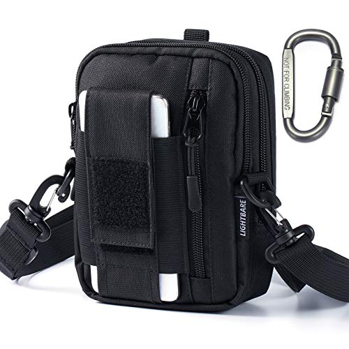 """Bassdash Lightbare Series Tactical Molle Pouch Multipurpose EDC Crossbody Bag Waistpack, Compact Gadget Pouch with Cell Phone Holster Holder (New - Black 7.08"""" (H) x 5.12"""" (L) x 1.97"""" (W))"""