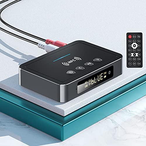 Adaptador Bluetooth 5.0, POMME M6 NFC Transmisor Receptor Bluetooth Audio 3 in 1 Transmisor FM, RCA/AUX 3.5 mm Jack Adaptador Bluetooth Coche para PC, TV, Teléfonos Inteligentes-Plug and Play