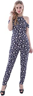 Palm Lagoon Martine in Palm Leaf Blue Navy Slim Fit Off Shoulder Tropical Women Jumpsuit