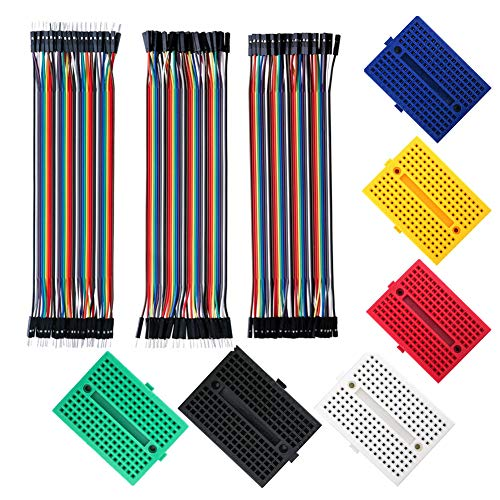 6PCS 6 Colori Mini Breadboard da 170 Punti Kit,120PCS Cavetti Jumper Filo Dupont Wire 20 cm Femmina Femmina, Maschio Femmina, Maschio Maschio per Arduino