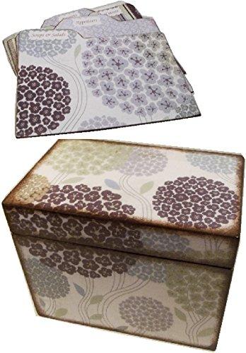 Recipe Box,Tab Dividers SET Wood, Holds 4x6 Recipe Cards,Purple Hydrangeas, Decoupaged