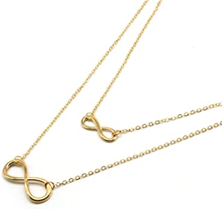 The Bling Stores Double Charm Infinity Necklace Gold Layered Chain Necklace Lucky 8 Necklace for Women