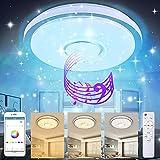 TYCOLIT Plafoniera LED Soffitto per Musica 60W con Altoparlante Bluetooth, Plafoniere musicale con cambio colore con telecomando e controllo APP, Ø40 cm Lampada Dimmerabili per soggiorno, camera