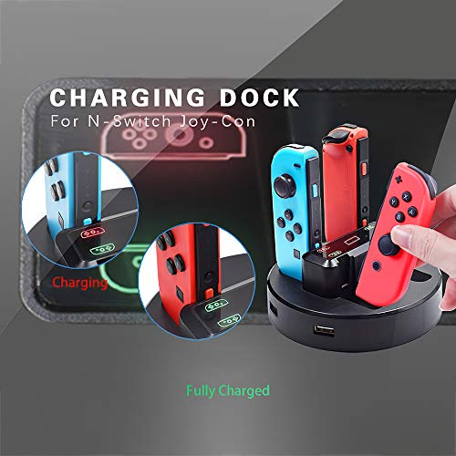 Goolsky Joy-Con Ladestation 4 in 1 Switch Controller Ladesitz Kompatibel mit Nintendo Switch Joycon Controller mit USB Kabel Typ C