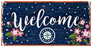 Seattle Mariners Welcome Sign with Floral pattern 6X12 Wood sign