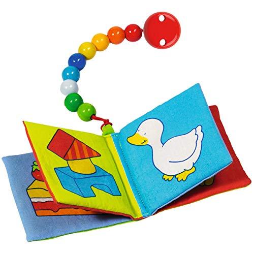 Solini Le Livre en Tissu avec Attache-Sucette Livre bébé, Multicolore