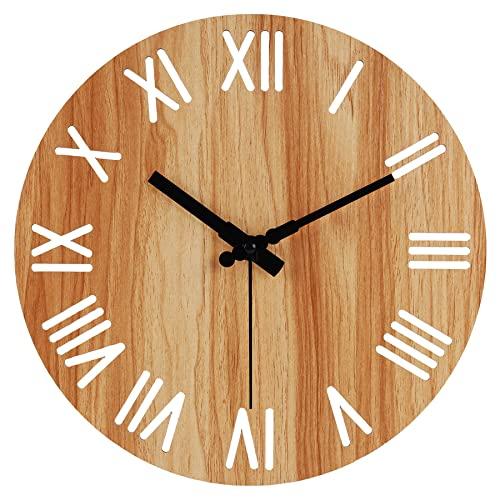 Reloj de Pared silencioso sin tictac de 12 Pulgadas, Grandes Relojes Decorativos Redondos de Madera para Sala de Estar, Dormitorio, Cocina, Oficina, Funciona con Pilas (Roman)