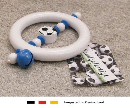 Baby Greifling Rassel Beißring - Holz Lernspielzeug als Geschenk zur Geburt Taufe - Motiv Fussball in Vereinsfarben - blau, weiß