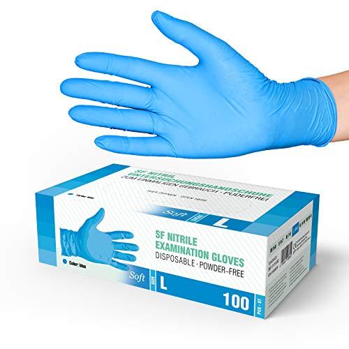 SF Medical Products Guantes de nitrile Soft 1000 piezas (L, Azul) sin polvo guantes desechables, sin látex guantes de examen, no estériles