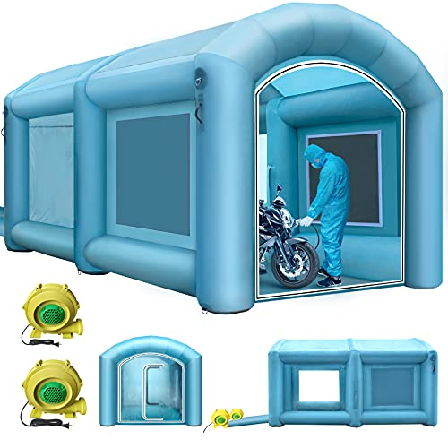 Happybuy Inflatable Paint Booth 13x8x7ft with 2 Blowers Inflatable Spray Booth with Filter System Portable Car Paint Booth for Car Parking Tent Workstation