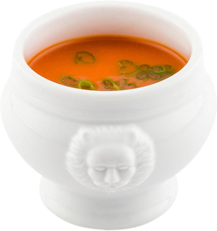Porcelain Soup Bowl, Porcelain Soup Cup - Lions Head Bowl - 6 Ounce - 10ct Box - Restaurantware